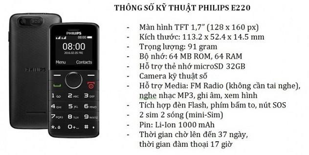 tính năng philips e220