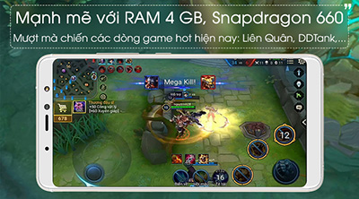 Mạnh mẽ với RAM 4GB, Snapdragon 660, mượt mà chiến các dòng game hot.