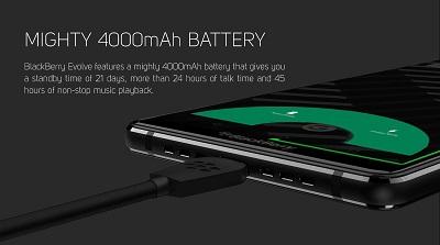 Dung lượng pin cao và sạc nhanh trên BlackBerry Evolve