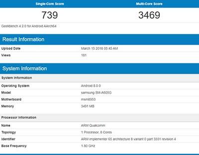 Hình ảnh thông tin được cho là Samsung Galaxy A6 Plus 2018 xuất hiện trên GeekBench.