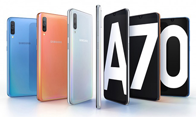 Samsung Galaxy A70 với camera 32MP, mà hình Infinyti-U ấn tượng.