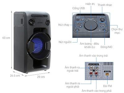 Bảng điều khiển và nút hổ trợ trên dòng sản phẩm loa Sony MHC V11/C SP6
