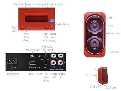 Bảng điều khiển và nút hổ trợ trên dòng sản phẩm loa Sony GTK-XB60