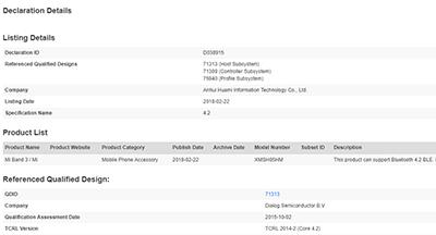 Mi Band 3 đạt chứng nhận Bluetooth