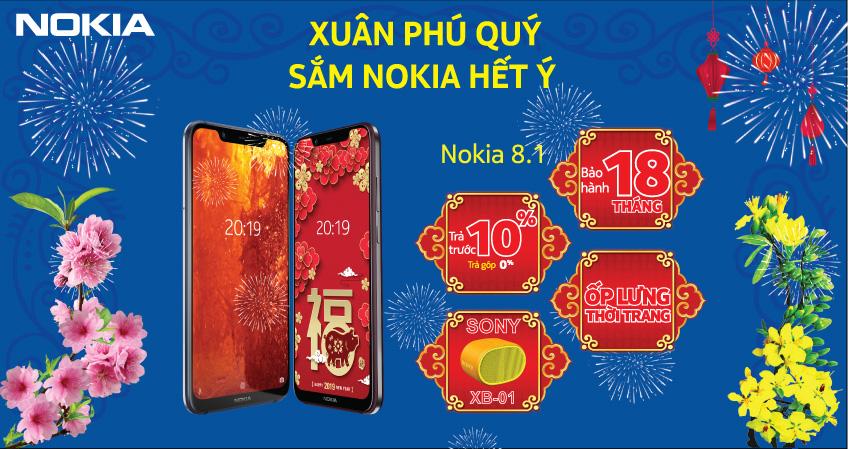 Sắm ngay điện thoại Nokia 8.1 - Sở hữu ngay bộ quà tặng lên đến 800.000 VNĐ