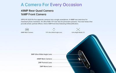 Cụm camera cùng tính năng hỗ trợ được nâng cấp trên điện thoại Oppo A9 2020