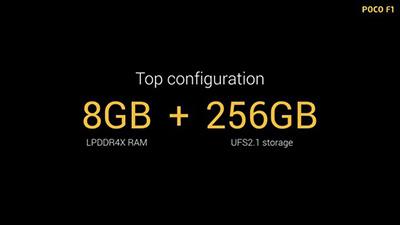 LPDDR4X RAM 8GB + UFS2.1 Storage 256GB.