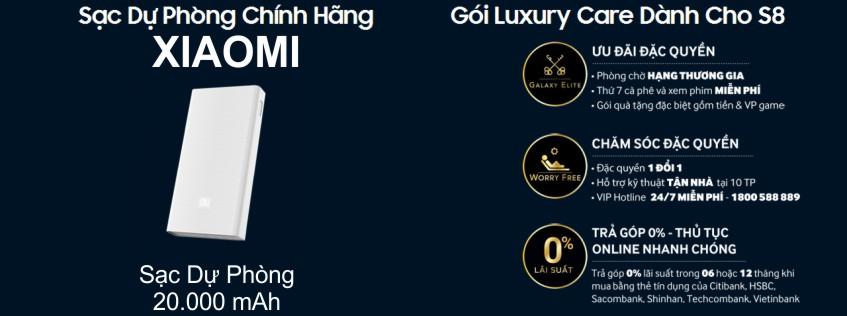 Đặt Trước Samsung Galaxy S8, s8 plus nhận ngay sạc dự phòng xiaomi 20000 và gói luxury care