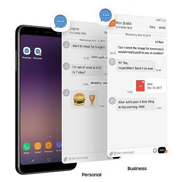 Với tính năng tách biệt tin nhắn của Samsung Galaxy A8 2018