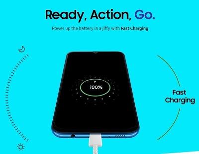Dung lượng pin cao cùng với tính năng sạc nhanh trên Samsung Galaxy A10
