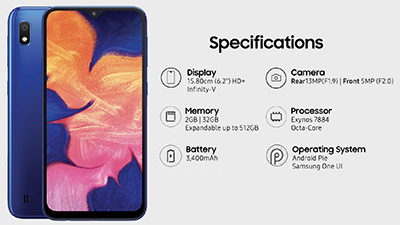Chi tiết cấu hình Samsung Galaxy A10
