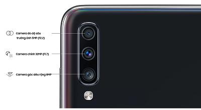 Camera Samsung Galaxy A70 sở hữu cụm 3 camera với độ phân giải cao