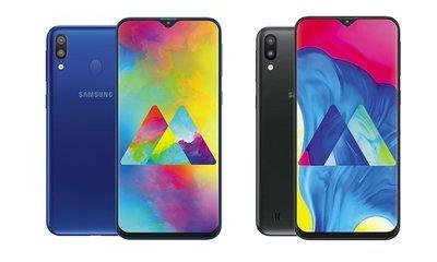 Điện thoại Samsung Galaxy M20 với 2 tông màu tương phản: Đen và Xanh