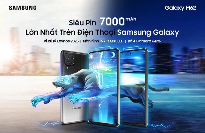Samsung Galaxy M62 siêu pin lên đến 7000mAh, giá thành 9,99 triệu đồng