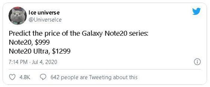 Giá bán của điện thoại Samsung Galaxy Note 20|20 Ultra