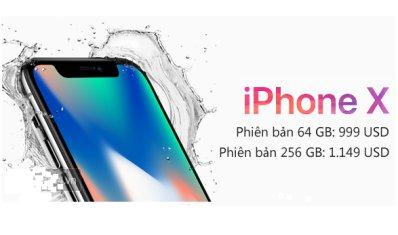Giá Iphone X 256GB có mức giá lên đến 1.149 USD