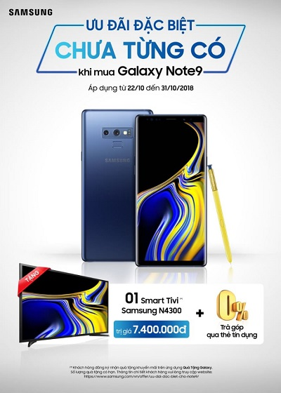 Mua Samsung Galaxy Note 9 nhận ngay Smart TV LED Samsung