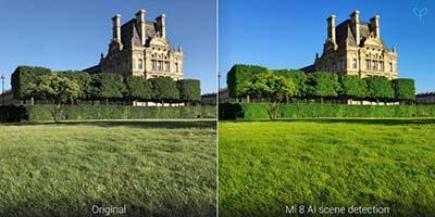 So sánh ảnh gốc và ảnh đã qua chỉnh sử tự động bằng công nghệ trên Xiaomi Mi 8.